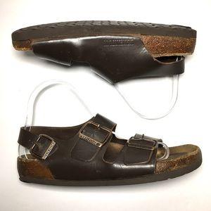 Birkenstock dark brown leather ankle strap sandals